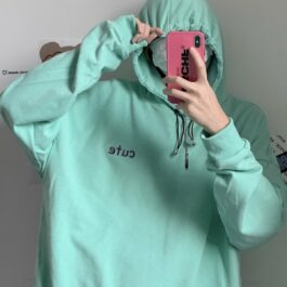 Cute Aesthetic Mint Green Hoodie 1- Orezoria Aesthetic Outfits Shop - Aesthetic Clothing - eGirl Outfits - Soft Girl Outfits