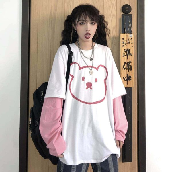 Cute Bear Face Fake Pink Seeve Top .1- Orezoria Aesthetic Outfits Shop - Aesthetic Clothing - eGirl Outfits - Soft Girl Outfits