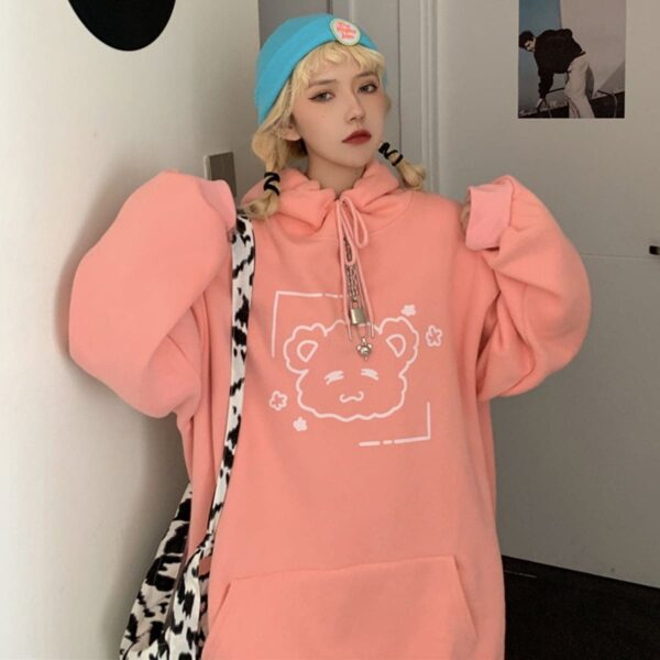 Cute Bear Loose Hoodie Kawaii Aesthetic 3 - Orezoria Aesthetic Outfits Shop - Aesthetic Clothing - eGirl Outfits - Soft Girl Outfits.psd