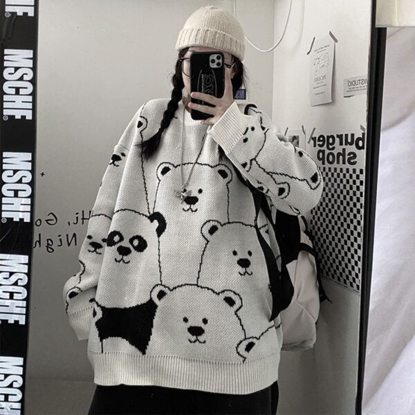 Cute Cartoon Bears Knitted Sweater.1- Orezoria Aesthetic Outfits Shop - Aesthetic Clothing - eGirl Outfits - Soft Girl Outfits