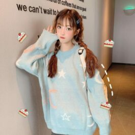 Cute Celestial Aesthetic Stars Sweater- Orezoria Aesthetic Outfits Shop - Aesthetic Clothing - eGirl Outfits - Soft Girl Outfits.psd