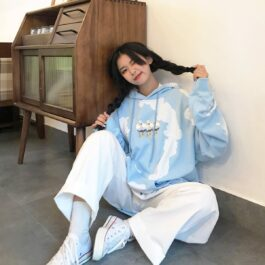 Cute Ducks Nature Lover Loose Hoodie 1 - Orezoria Aesthetic Outfits Shop - Aesthetic Clothing - eGirl Outfits - Soft Girl Outfits