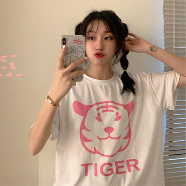 Cute Fat Tiger Print Oversized T-Shirt 1 - Orezoria Aesthetic Outfits Shop - Aesthetic Clothing - eGirl Outfits - Soft Girl Outfits
