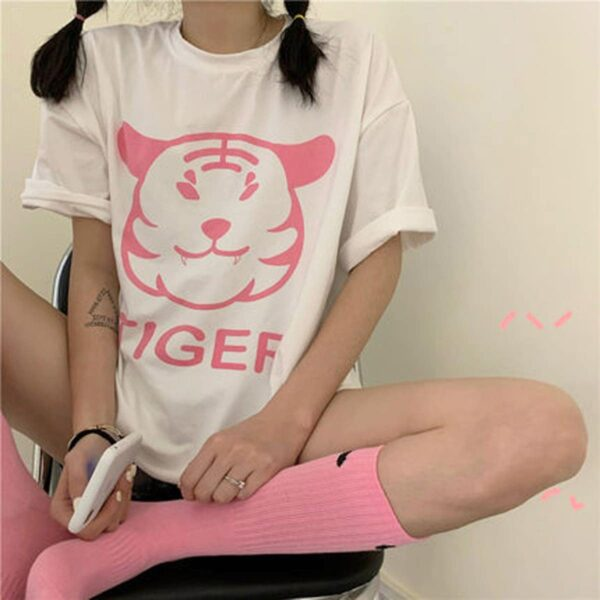 Cute Fat Tiger Print Oversized T-Shirt 4 - Orezoria Aesthetic Outfits Shop - Aesthetic Clothing - eGirl Outfits - Soft Girl Outfits