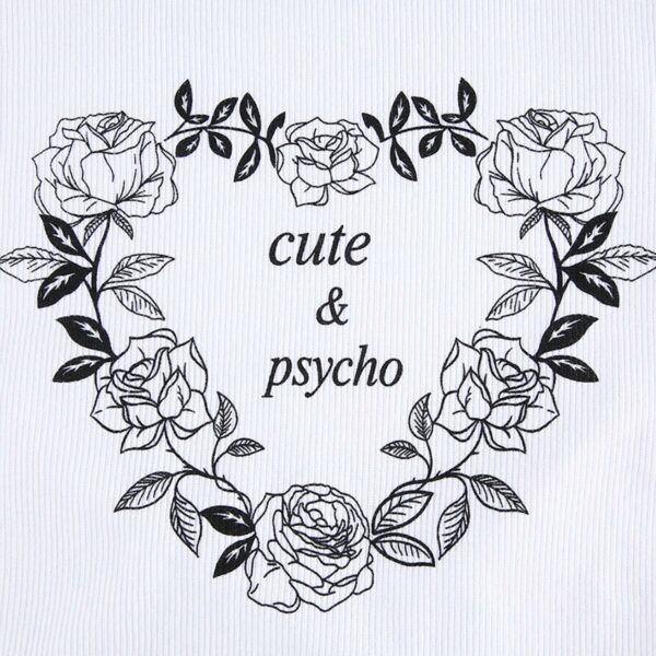 Cute and Psycho Split Sleeve White Crop Top (4)- Orezoria Aesthetic Outfits Shop - Aesthetic Clothing - eGirl Outfits - Soft Girl Outfits