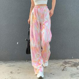 Cute and Psycho Tie Dye Soft Girl Pants (1)- Orezoria Aesthetic Outfits Shop - Aesthetic Clothing - eGirl Outfits - Soft Girl Outfits