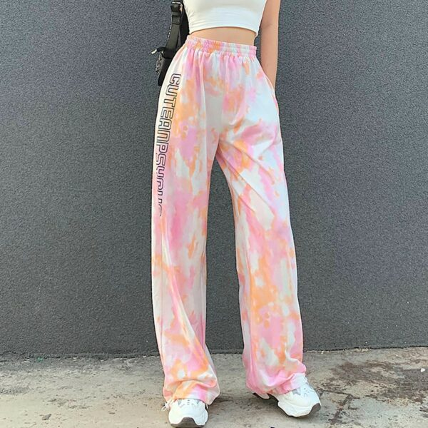 Cute and Psycho Tie Dye Soft Girl Pants (2)- Orezoria Aesthetic Outfits Shop - Aesthetic Clothing - eGirl Outfits - Soft Girl Outfits