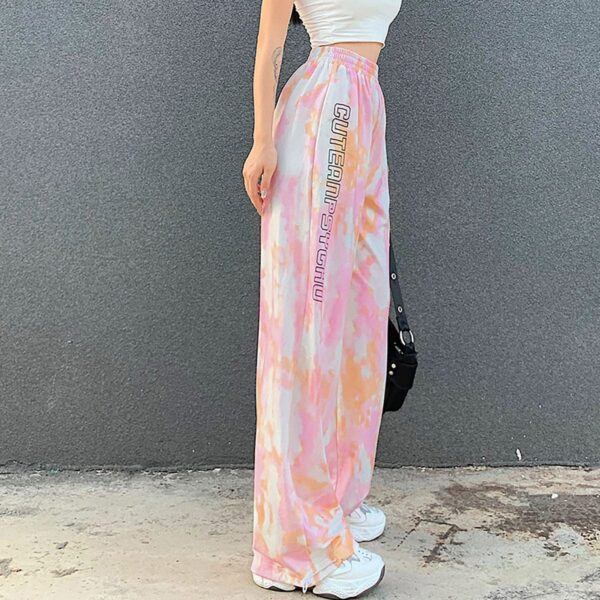 Cute and Psycho Tie Dye Soft Girl Pants (4)- Orezoria Aesthetic Outfits Shop - Aesthetic Clothing - eGirl Outfits - Soft Girl Outfits