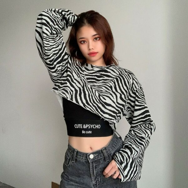 Cute and Psycho Tiger Crop Long Sleeve - Orezoria Aesthetic Outfits Shop - Aesthetic Clothing - eGirl Outfits - Soft Girl Outfits.psd
