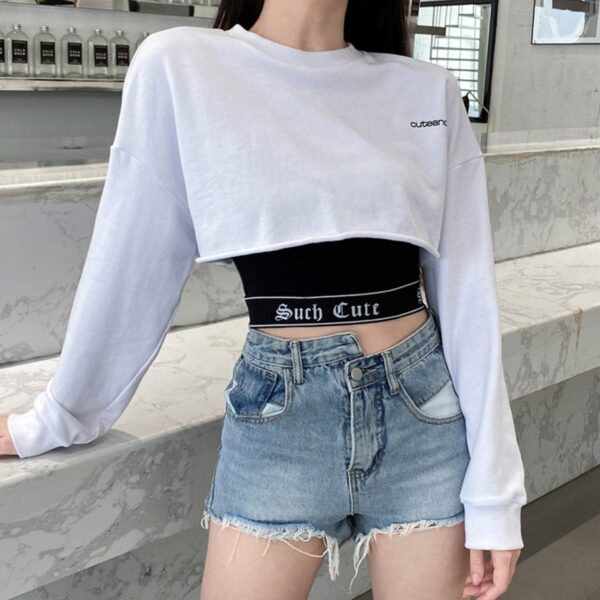 Cute and Psycho White Cropped Long Sleeve - Orezoria Aesthetic Outfits Shop - Aesthetic Clothing - eGirl Outfits - Soft Girl Outfits.psd