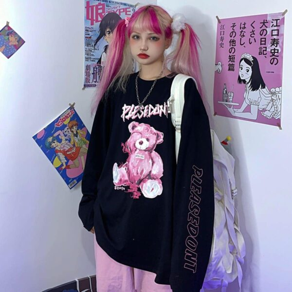 Damaged Pink Bear Loose Long Sleeve 1 - Orezoria Aesthetic Outfits Shop - Aesthetic Clothing - eGirl Outfits - Soft Girl Outfits.psd