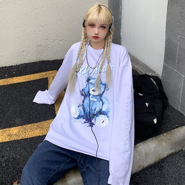 Damaged Pink Bear Loose Long Sleeve 3 - Orezoria Aesthetic Outfits Shop - Aesthetic Clothing - eGirl Outfits - Soft Girl Outfits.psd
