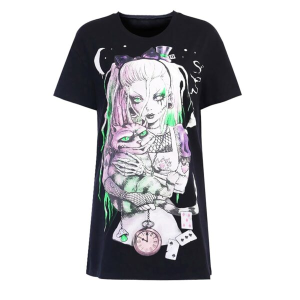Dark Core Alice Cheshire Cat T-Shirt 5- Orezoria Aesthetic Outfits Shop - Aesthetic Clothing - eGirl Outfits - Soft Girl Outfits