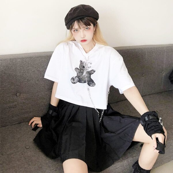 Dark Core Bear White Cropped T-Shirt 1- Orezoria Aesthetic Outfits Shop - Aesthetic Clothing - eGirl Outfits - Soft Girl Outfits