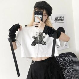 Dark Core Bear White Cropped T-Shirt 2- Orezoria Aesthetic Outfits Shop - Aesthetic Clothing - eGirl Outfits - Soft Girl Outfits