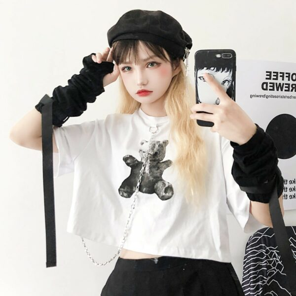 Dark Core Bear White Cropped T-Shirt 4- Orezoria Aesthetic Outfits Shop - Aesthetic Clothing - eGirl Outfits - Soft Girl Outfits