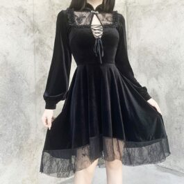 Dark Core Gothic Black Vampire Dress 1- Orezoria Aesthetic Outfits Shop - Aesthetic Clothing - eGirl Outfits - Soft Girl Outfits