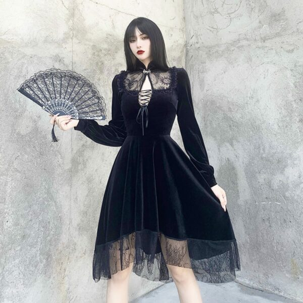 Dark Core Gothic Black Vampire Dress 2- Orezoria Aesthetic Outfits Shop - Aesthetic Clothing - eGirl Outfits - Soft Girl Outfits