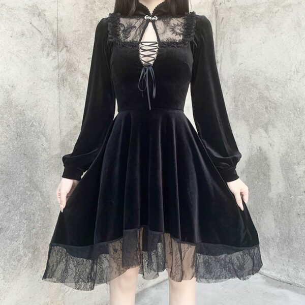 Dark Core Gothic Black Vampire Dress 3- Orezoria Aesthetic Outfits Shop - Aesthetic Clothing - eGirl Outfits - Soft Girl Outfits