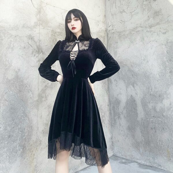Dark Core Gothic Black Vampire Dress 4- Orezoria Aesthetic Outfits Shop - Aesthetic Clothing - eGirl Outfits - Soft Girl Outfits