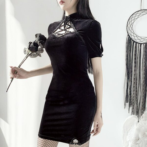 Dark Core Sleeve Black Goth Dress 1- Orezoria Aesthetic Outfits Shop - Aesthetic Clothing - eGirl Outfits - Soft Girl Outfits