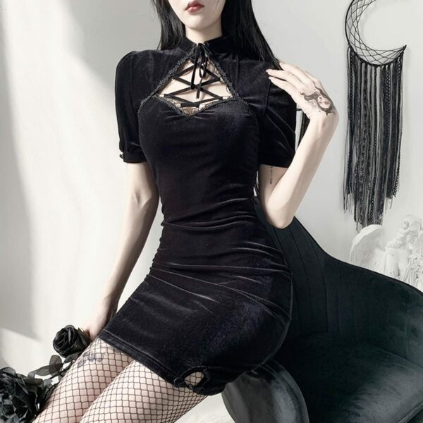 Dark Core Sleeve Black Goth Dress 3- Orezoria Aesthetic Outfits Shop - Aesthetic Clothing - eGirl Outfits - Soft Girl Outfits