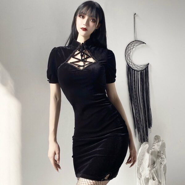 Dark Core Sleeve Black Goth Dress 4- Orezoria Aesthetic Outfits Shop - Aesthetic Clothing - eGirl Outfits - Soft Girl Outfits
