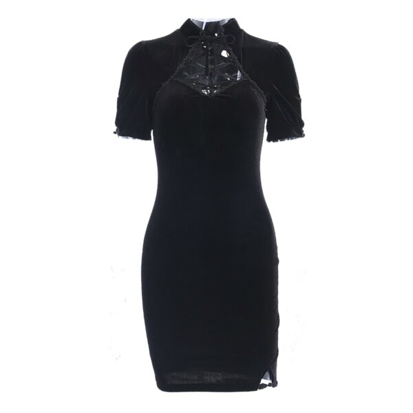 Dark Core Sleeve Black Goth Dress 5- Orezoria Aesthetic Outfits Shop - Aesthetic Clothing - eGirl Outfits - Soft Girl Outfits