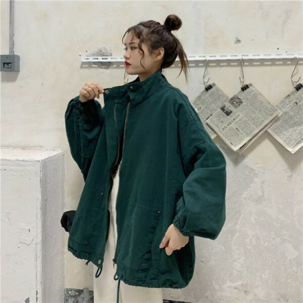 Dark Gree 90s Aesthetic Casual Jacket - Orezoria Aesthetic Outfits Shop - Aesthetic Clothing - eGirl Outfits - Soft Girl Outfits.psd