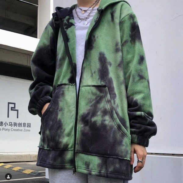 Dark Green Core Tie Dye Loose Hoodie - Orezoria Aesthetic Outfits Shop - Aesthetic Clothing - eGirl Outfits - Soft Girl Outfits.psd