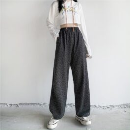 Dark Leopard Cat Loose Sweatpants 1- Orezoria Aesthetic Outfits Shop - Aesthetic Clothing - eGirl Outfits - Soft Girl Outfits
