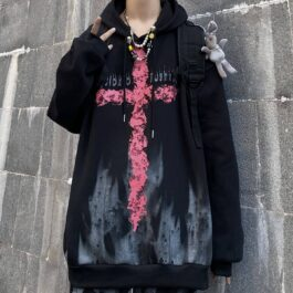 Dark Red Cross Oversized Hoodie 3- Orezoria Aesthetic Outfits Shop - Aesthetic Clothing - eGirl Outfits - Soft Girl Outfits