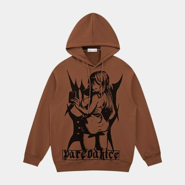 Dark Retro Anime Girl Selfie Hoodie 1- Orezoria Aesthetic Outfits Shop - Aesthetic Clothing - eGirl Outfits - Soft Girl Outfits