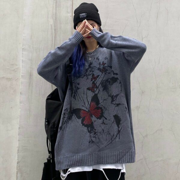 Dark Street Butterfly Graffiti Sweater 1- Orezoria Aesthetic Outfits Shop - Aesthetic Clothing - eGirl Outfits - Soft Girl Outfits