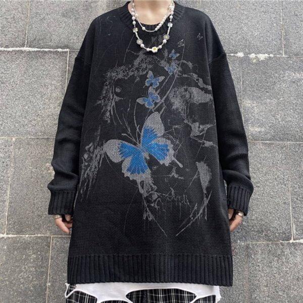 Dark Street Butterfly Graffiti Sweater 2- Orezoria Aesthetic Outfits Shop - Aesthetic Clothing - eGirl Outfits - Soft Girl Outfits