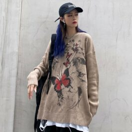 Dark Street Butterfly Graffiti Sweater 3- Orezoria Aesthetic Outfits Shop - Aesthetic Clothing - eGirl Outfits - Soft Girl Outfits