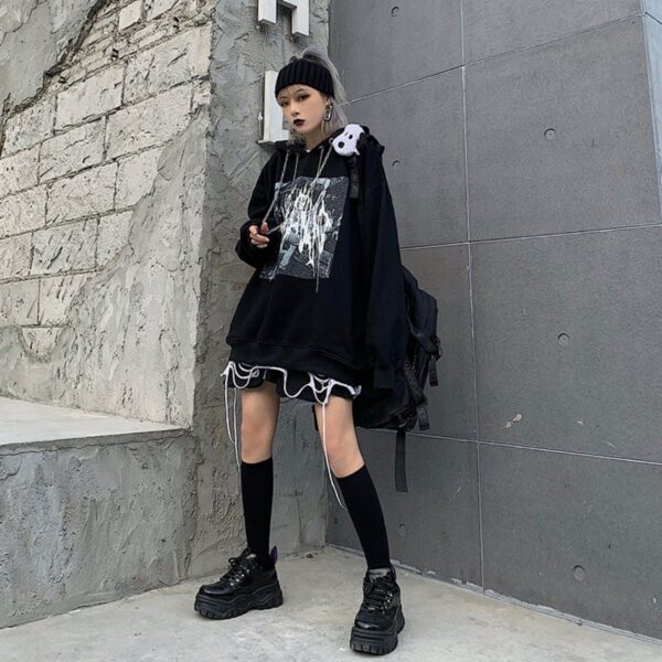 Dark Urban Grunge Oversized Hoodie - Orezoria Aesthetic Outfits Shop - Aesthetic Clothing - eGirl Outfits - Soft Girl Outfits.psd