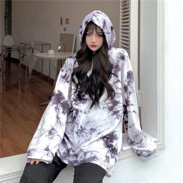 Dark Virus Tie Dye Loose Hoodie.1- Orezoria Aesthetic Outfits Shop - Aesthetic Clothing - eGirl Outfits - Soft Girl Outfits