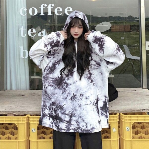Dark Virus Tie Dye Loose Hoodie.3- Orezoria Aesthetic Outfits Shop - Aesthetic Clothing - eGirl Outfits - Soft Girl Outfits
