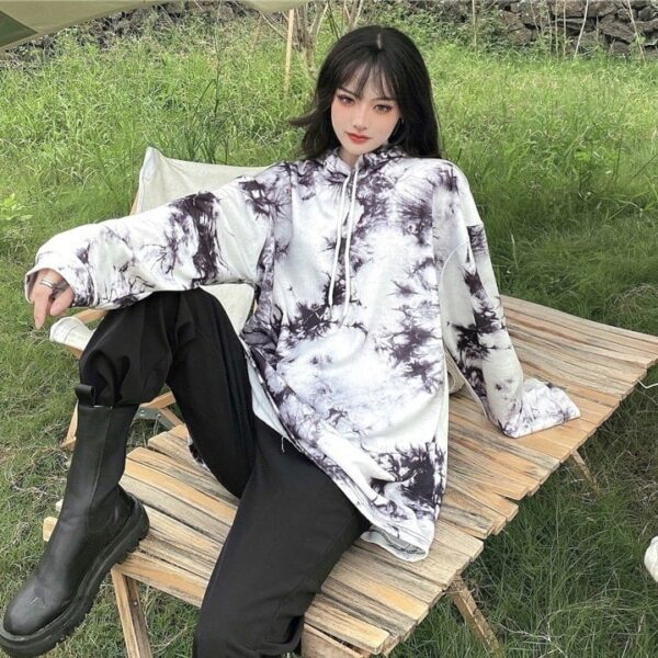 Dark Virus Tie Dye Loose Hoodie.4- Orezoria Aesthetic Outfits Shop - Aesthetic Clothing - eGirl Outfits - Soft Girl Outfits
