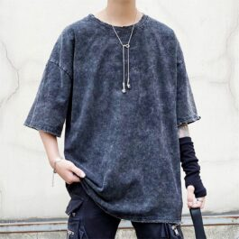 Dark Washed Loose Grunge T-Shirt 1- Orezoria Aesthetic Outfits Shop - Aesthetic Clothing - eGirl Outfits - Soft Girl Outfits