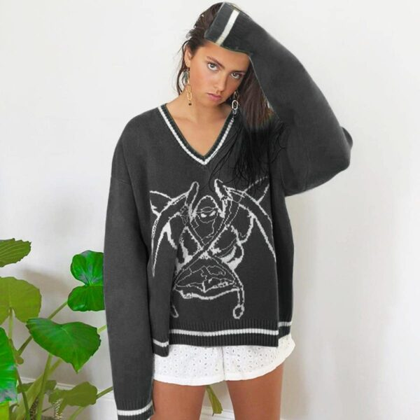 Death Angel Reaper V Neck Pullover 4- Orezoria Aesthetic Outfits Shop - Aesthetic Clothing - eGirl Outfits - Soft Girl Outfits