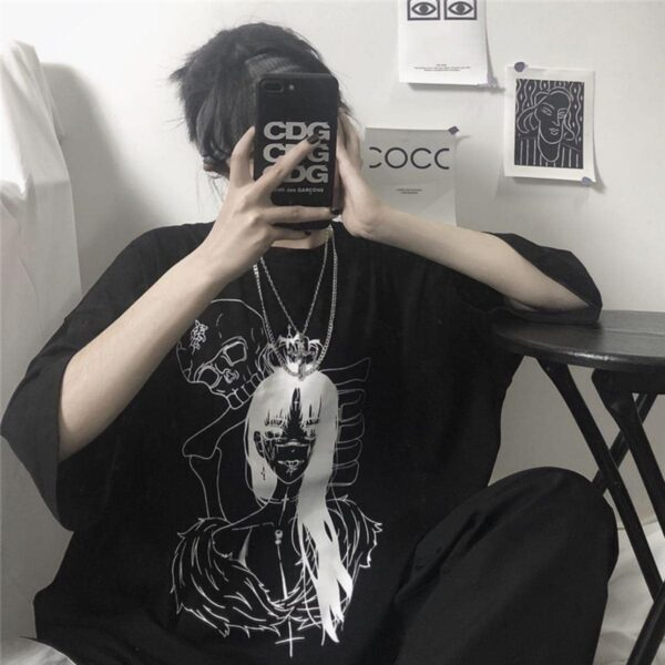 Death Embrace T-Shirt Anime Aesthetic - Orezoria Aesthetic Outfits Shop - Aesthetic Clothing - eGirl Outfits - Soft Girl Outfits.psd