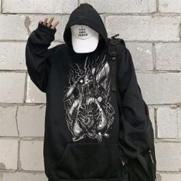 Death Metal Pikachu Oversized Hoodie 1 - Orezoria Aesthetic Outfits Shop - Aesthetic Clothing - eGirl Outfits - Soft Girl Outfits