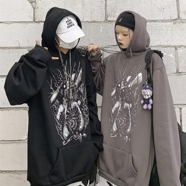 Death Metal Pikachu Oversized Hoodie 4 - Orezoria Aesthetic Outfits Shop - Aesthetic Clothing - eGirl Outfits - Soft Girl Outfits