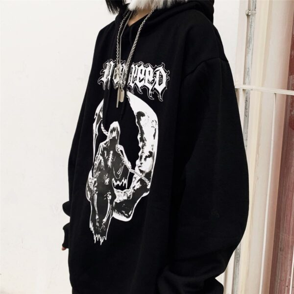 Death Sitting on the Moon Hoodie 1- Orezoria Aesthetic Outfits Shop - Aesthetic Clothing - eGirl Outfits - Soft Girl Outfits