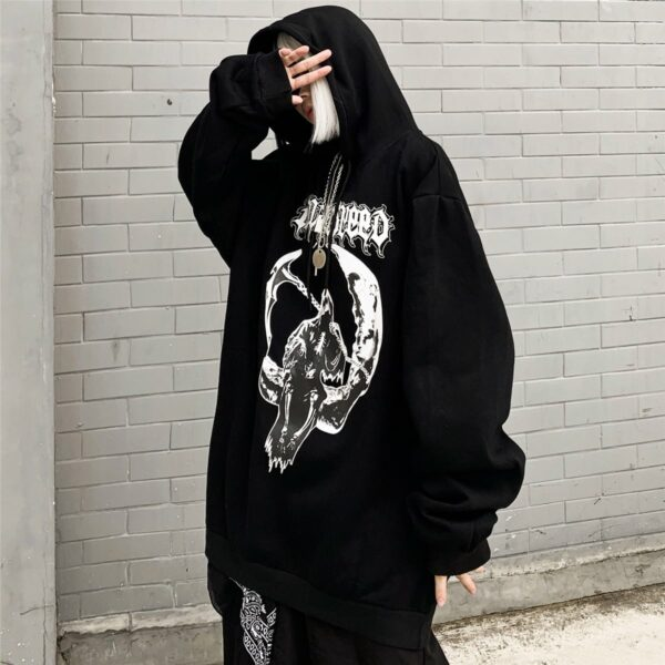 Death Sitting on the Moon Hoodie 2- Orezoria Aesthetic Outfits Shop - Aesthetic Clothing - eGirl Outfits - Soft Girl Outfits