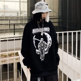 Death Sitting on the Moon Hoodie 3- Orezoria Aesthetic Outfits Shop - Aesthetic Clothing - eGirl Outfits - Soft Girl Outfits