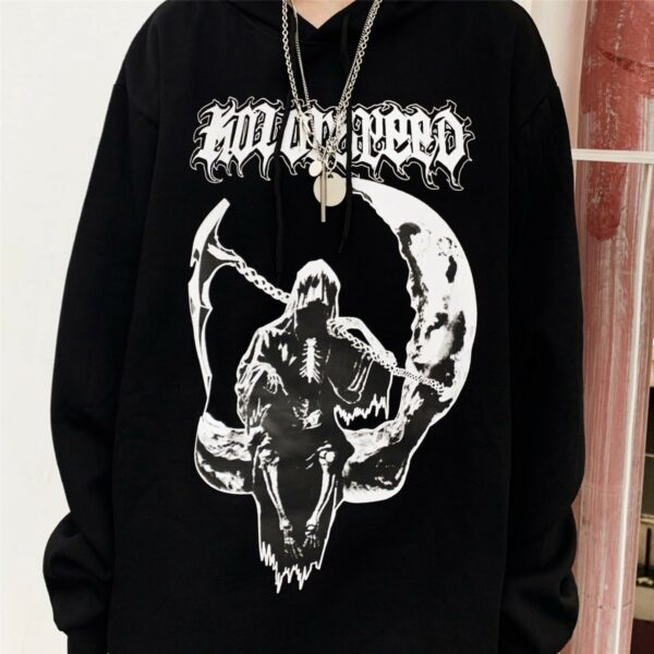 Death Sitting on the Moon Hoodie 4- Orezoria Aesthetic Outfits Shop - Aesthetic Clothing - eGirl Outfits - Soft Girl Outfits