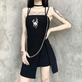 Deathly Spider Dark Core Chain Dress 1- Orezoria Aesthetic Outfits Shop - Aesthetic Clothing - eGirl Outfits - Soft Girl Outfits